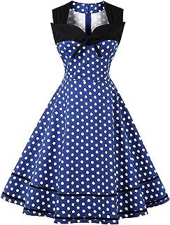 bb3fe4044b FTVOGUE Womens Tea Dresses Halter V-Neck Vintage Retro 1950s Swing Flared  Rockabilly Sleeveless Floral