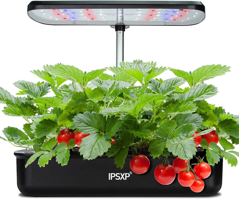 Kit de jardín de hierbas para interiores IPSXP con las 12 vainas incluidas, sistema de cultivo hidropónico con luz de crecimiento LED, maceta de jardín inteligente para cocina casera, altura ajustable