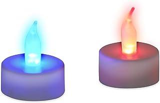 Relaxdays Świecznik typu tealight LED, zmiana kolorów, bezpłomieniowa dekoracja, zestaw 2 sztuk, zasilanie bateryjne, elek...