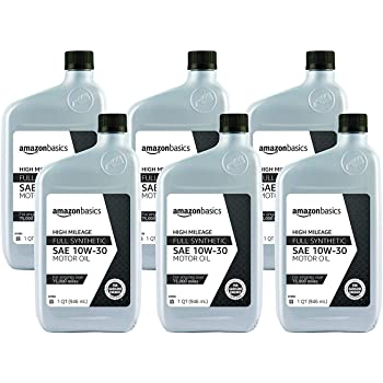 AmazonBasics High Mileage Motor Oil - Full Synthetic - 10W-30 - 1 Quart - 6 Pack