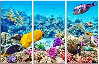sechars - 3 Piece Underwater Wall Art Tropical Coral Fish Pictures Print Blue Ocean Canvas Art Gallery Wrapped Modern Home Bedroom Bathroom Artwork