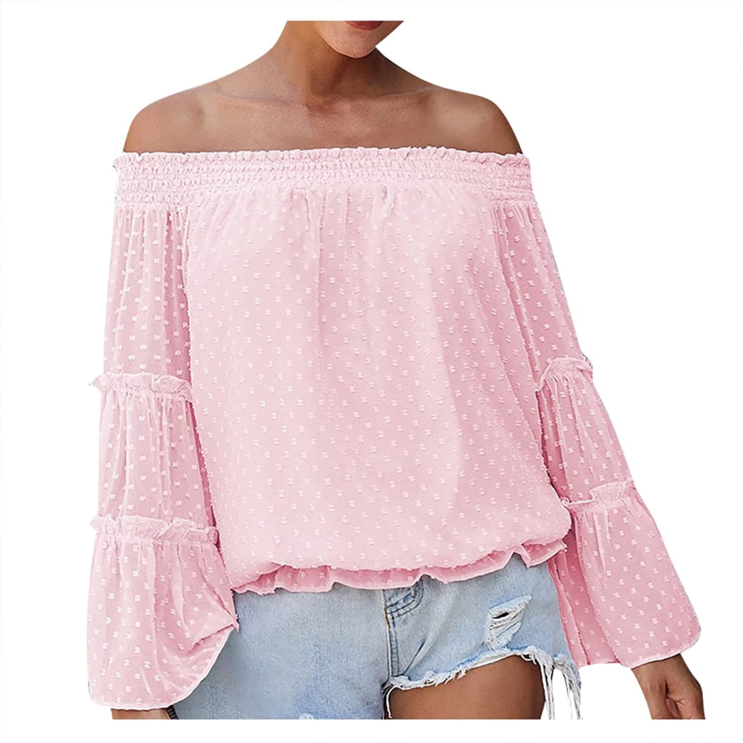 Long Tops for Women Lared Long Sleeve Chiffon Off Shoulder Neckline Hollow Loose Top