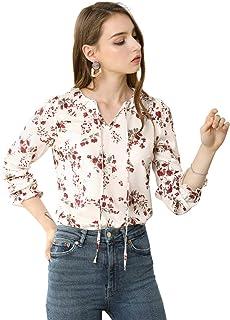 Allegra K Women's Ruffle Neck with Self Tie Long Sleeve Elegant Floral Blouse