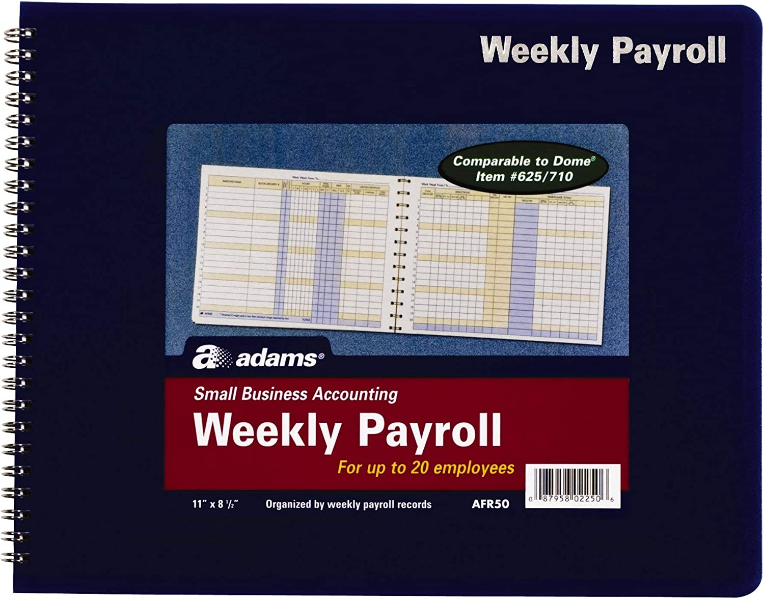11 x 8.5 Inches New Version AFR50 Spiral Binding White, Weekly Payroll Record 20 Employee Capacity