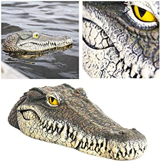 Geggur Floating Crocodile Head, Fake Alligator Head Water Decoy Pond Float Decor for Pool, Pond, Garden,Patio, Funny Pond Decor 13inch