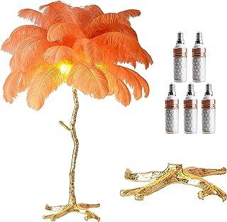 GQCTXHZ Lampadaire en Plumes, Lampes sur Pied au Design Nordique Moderne pour Chambres à Coucher avec 5 Ampoules E14, 3 Te...
