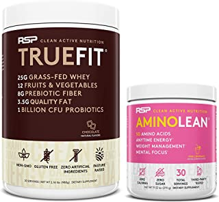 AminoLean Pre Workout Energy (Pink Lemonade 30 Servings) with TrueFit Protein Powder (Chocolate 2 LB)