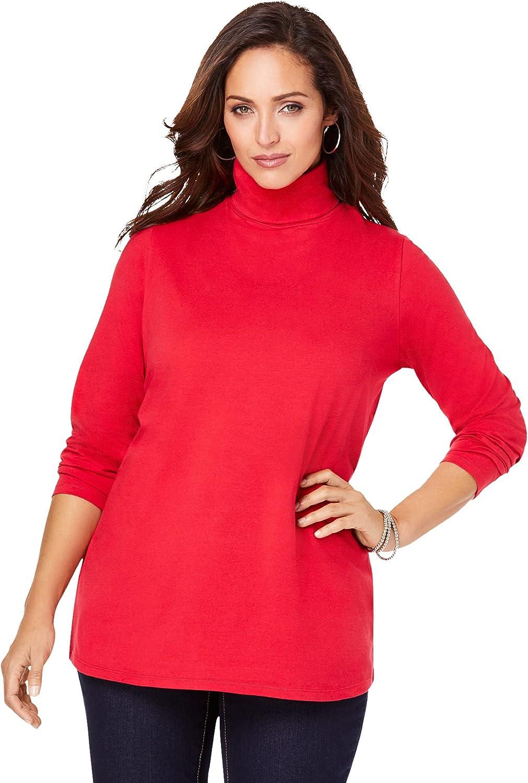 Jessica London Women's Plus Size Turtleneck Tee Mock Turtleneck T-Shirt - 26/28, Classic Red