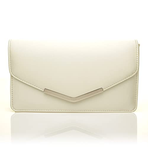 21403d5d58 LUCKY Ivory Satin Medium Size Clutch Bag