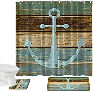 Madeals Shower Curtains Set & Flannel Foam Bathroom Mat Set Combination 3 Pcs Set - Geometric Patterned Shower Curtain 20 x 32 Bath Mat, 20 x 20 Toilet Mat & Shower Curtain Anchor