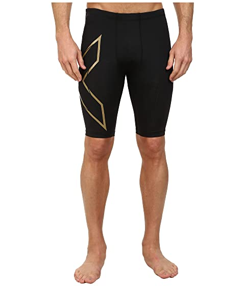 2XU Elite MCS Compression Short Black/Gold Men's Running Shorts 8486800