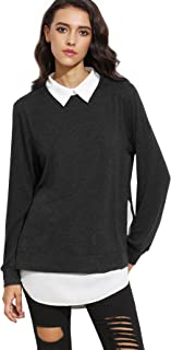 ROMWE Women's Classic Collar Long Sleeve Curved Hem Pullover Sweatshirt