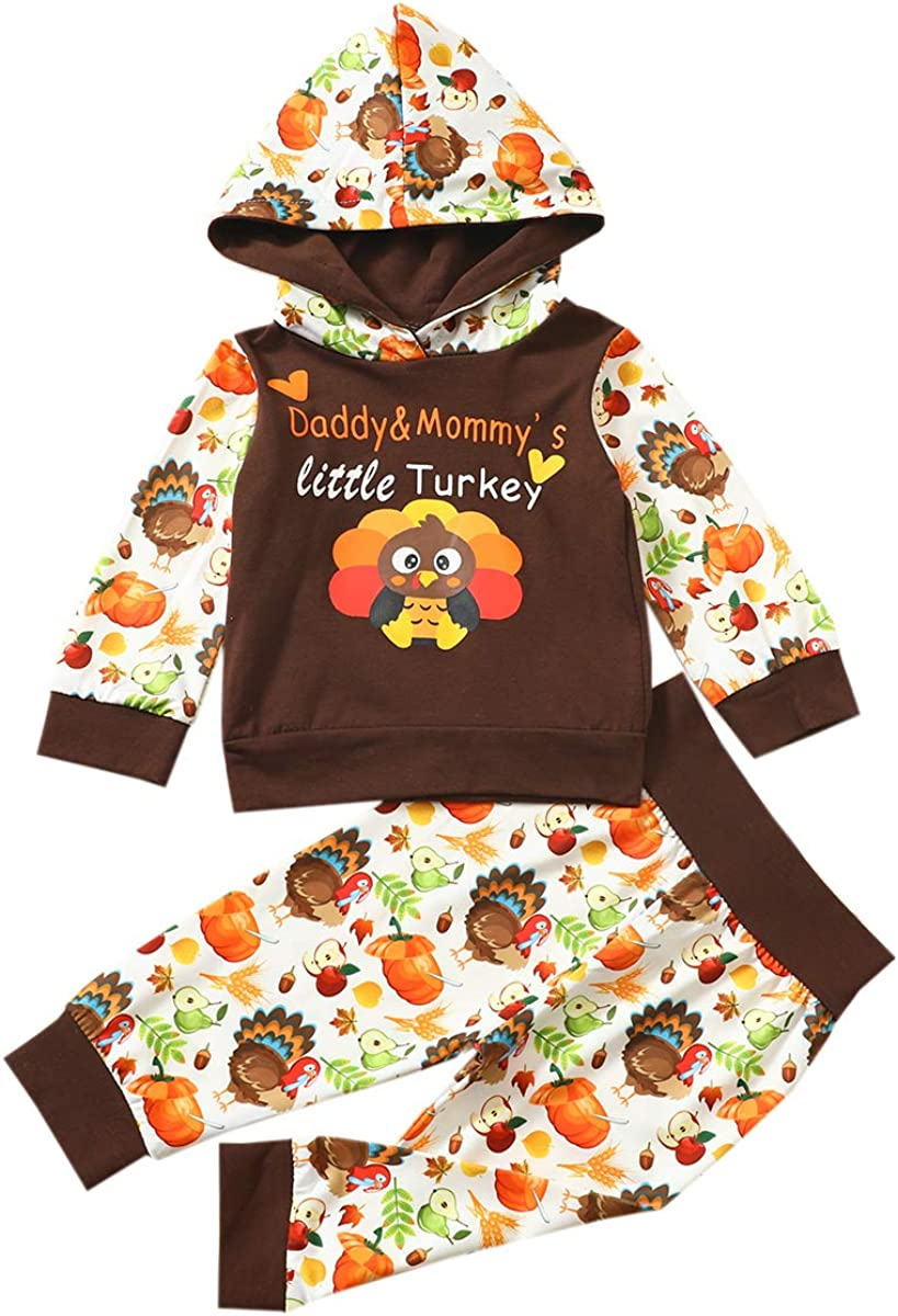 Baby Girl Thanksgiving Outfits Daddy and Mommy's Little Turkey Letter Print Hoodie Tops+Pants 2pcs Clothes