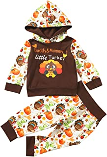 Baby Boy Girl Thanksgiving Outfit Daddy Mommy's Little Turkey Hoodie Pants Clothes Sets