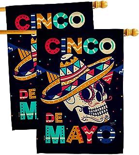 Breeze Decor Skull Cinco De Mayo House Flag 2 pcs Pack Summer Party Cactus Pinata Sombrero Mexican Fiesta Outdoor Decorati...