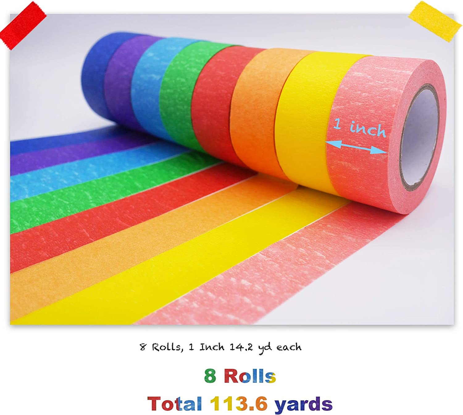 Painting Tapes for Crafts DIY Decorative Coding and Labellings and More 8 Different Colors Masking Tape Fun Supplies Kit for Kids and Adults 8 Rolls, 1 Inch 14.22 yd Each Colored Masking Tape