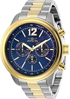 Men's Aviator Quartz Watch with Stainless Steel Strap, Two Tone, 22 (Model: 28897)
