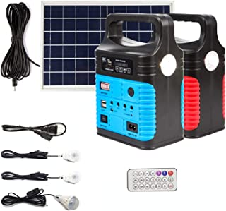 UPEOR Solar Generator Lighting System Portable Solar Power Generator Kit for Emergency Power Supply,Home & Outdoor Camping,Including MP3&FM Radio,Solar Panel,3 Sets LED Lights (Blue)
