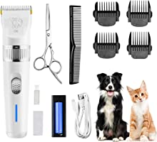 Rimposky Dog Clippers,Low Noise Pet Clippers with Detachable Blades,Rechargeable Dog Trimmer Pet Grooming Kit with USB Cable,Combs,Brush,Pet Hair Clippers for Dog Cat Small Animal(2 Batteries)