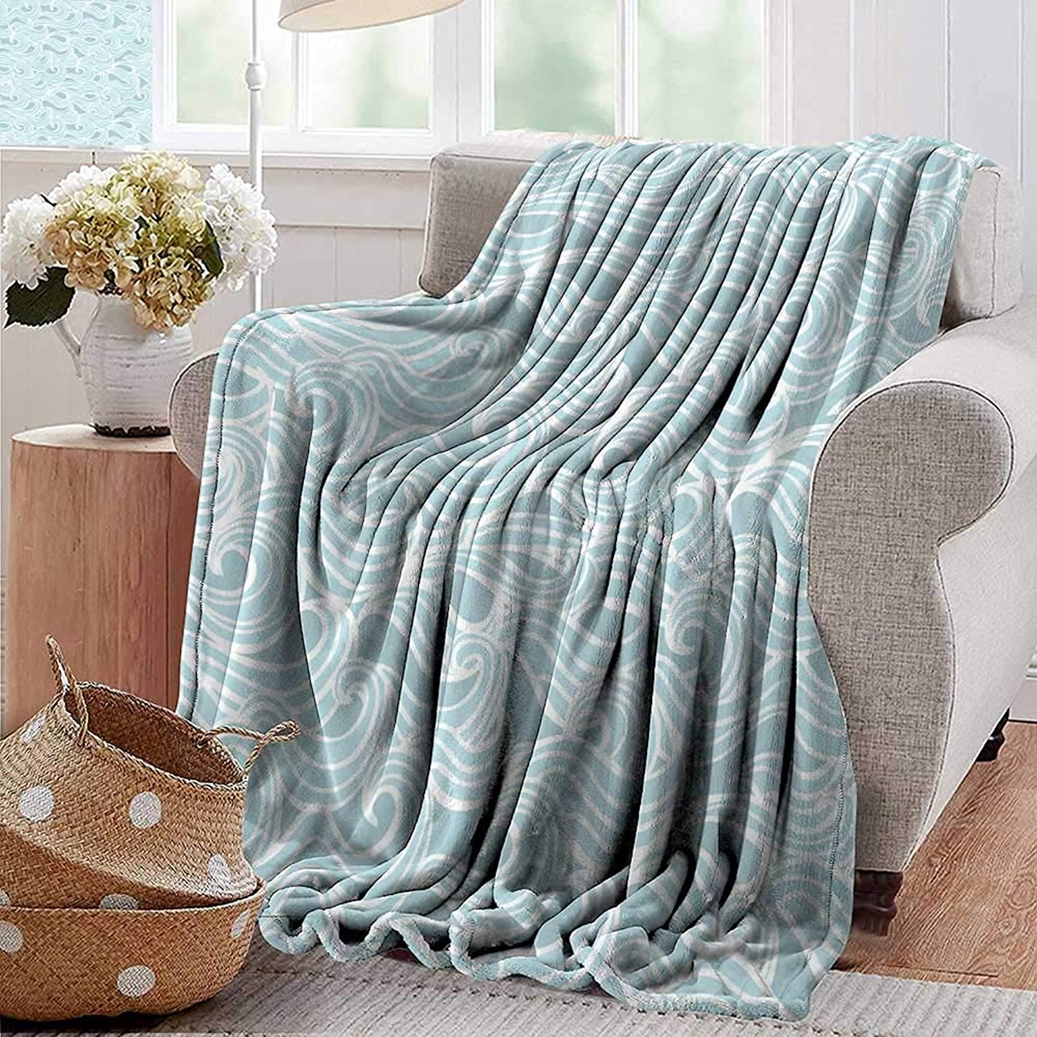 PearlRolan Weighted Blanket for Kids,Aqua,Abstract Ikat Frame Antique Victorian Style Floral Leaves Details Art Print,Seafoam and White,Weighted Blanket for Adults Kids, Better Deeper Sleep 35 x60