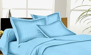 Trance Cotton Satin Stripes Pillow Covers 200TC 28 * 18 - Sky Blue - Pack of 2