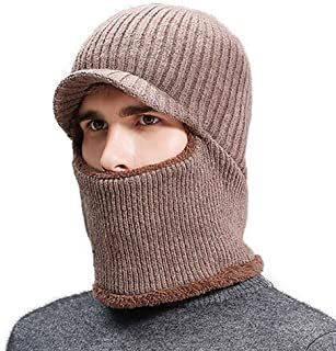Ypser Winter Beanie Hat for Men Knit Warm Cap with Fleece Lined Ski Face Mask