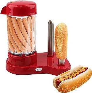 MovilCom® - Macchina per cani calda professionale a vapore | Hot dogs maker con 2 spiedini scaldapane | colore rosso