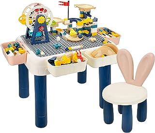 RANRANHOME 6-i-1 multibarn aktivitetsbordsset, byggklossar bord och stol set med 4 förvaringslådor, barns gör-det-själv mo...