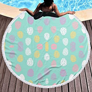 DlskjdaW Easter Eggs Spring Pastels Fabric Spring Fairy Kei Beach Towel - Large Microfiber Terry Beach Roundie Circle Picnic Carpet Yoga Mat with Fringe for Women