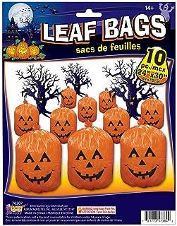 Forum Novelties 10 Plastic Halloween Jack-O-Lantern Pumpkin Leaf Bags Yd Decoration O