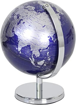 19cm Blau The Leonardo Collection Drehbar World Desktop Globus Poliert Silber Metall St/änder Sockel Erde Blau
