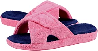Women's Adjustable House Slippers with Arch Support Open Toe Fuzzy Slide Sandals