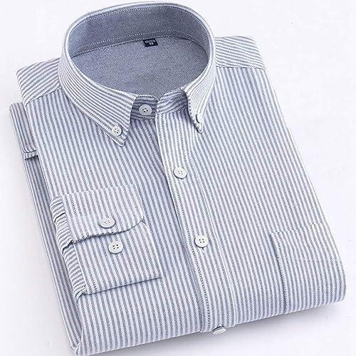 YAYLMKNA Chemise Grande Taille Coton Chemise De Couleur Unie Hommes Printemps Chemises Décontracté Chemise Oxford