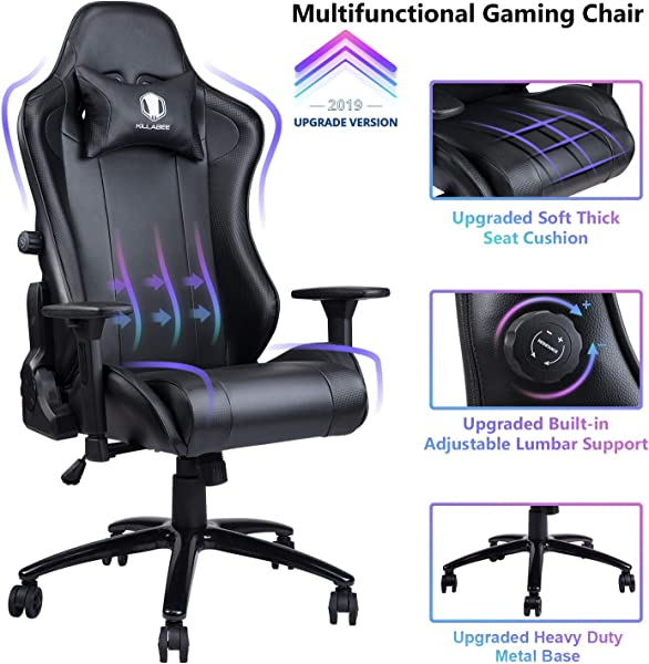 VON RACER Gaming Chair With Adjustable Built In Lumbar Support Big And Tall Ergonomic Racing Computer Chair High Back Leather Office Desk Chair W Metal Base Black