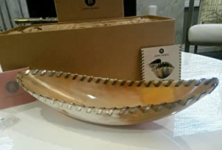 John Hardy Buffalo Horn Decorative Bowl Solid .925 Sterling Silver Stitching - Retired
