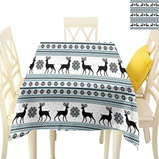 Nordic Square Tablecloths, Chevron Zigzags Winter Floral Arrangement Norwegian Reindeer Snow Pattern Table Linen Cloth for Dining Room Picnics, 54