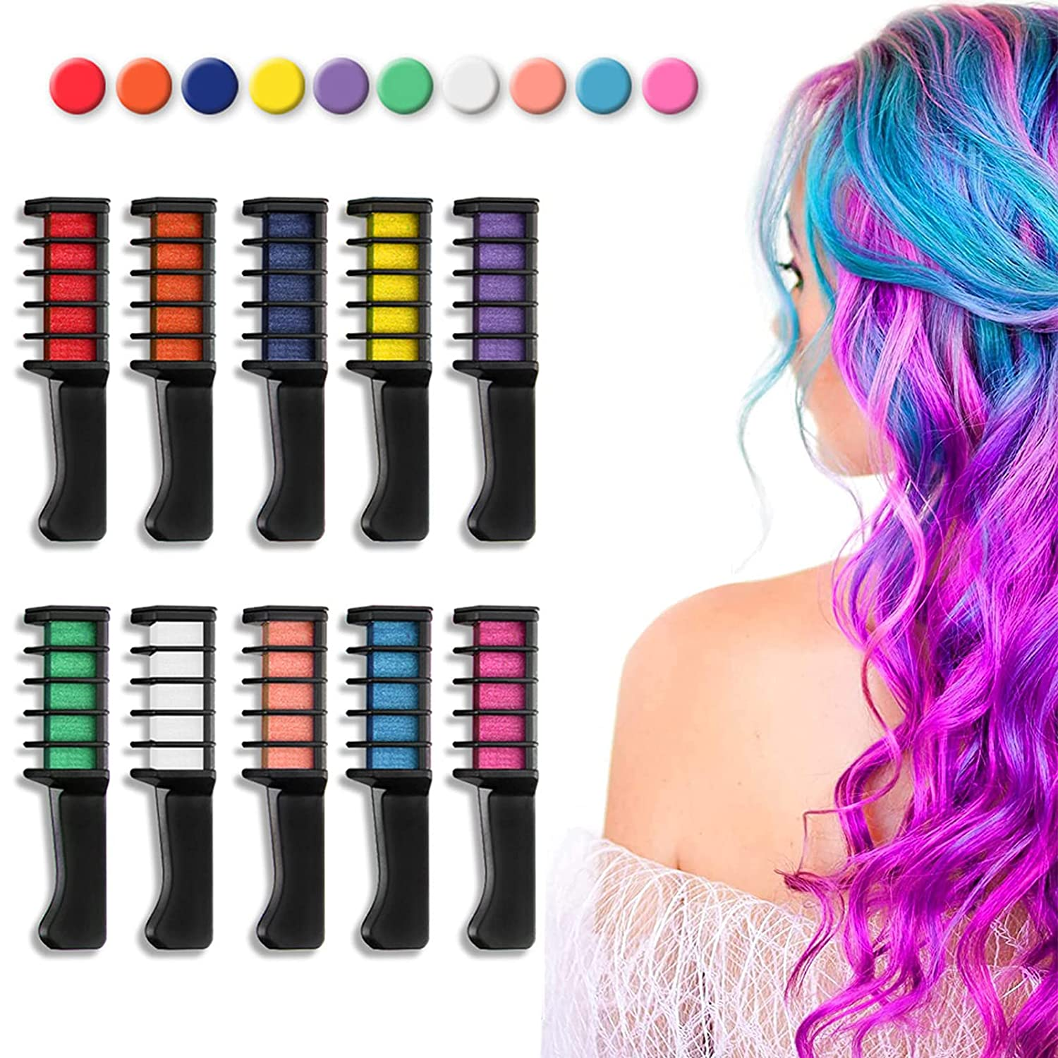 10 Colors Hair Chalk 5 popular for Soldering Kids Temporary Bright Comb H