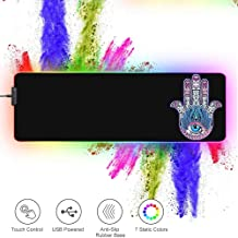 """ZYCCW Large RGB Gaming XXL Mouse Pad with Stitched Edge 31.5""""x11.8""""x0.15"""" Evil Eye Hamsa Hand Mouse Mat Customized Extended Glowing Led Gaming Mouse Pad Anti-Slip Rubber Base Ergonomic Mouse Pad fo"""