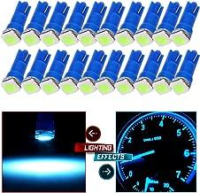 cciyu 20x Blue T5 Blue Dashboard Instrument Panel Instrument Speedometer Gauge Cluster 37 73 74 79 17 57 5050 1-SMD LED Light Bulb 12V (ice blue)