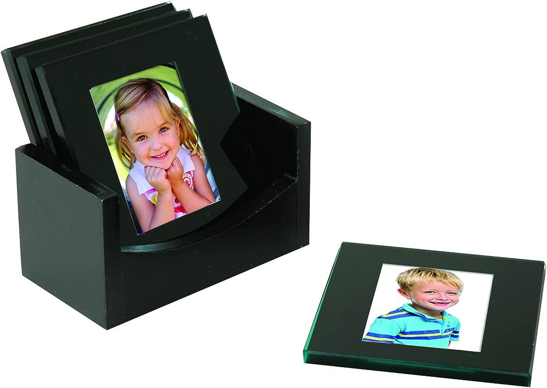 Black Glass Photo Coasters Set Of 4