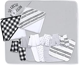 The Peanutshell Hooded Bath Towel and Wash Cloth Set for Baby Boys or Girls - 23 Piece Unisex Set - Black Plaid and Stripe