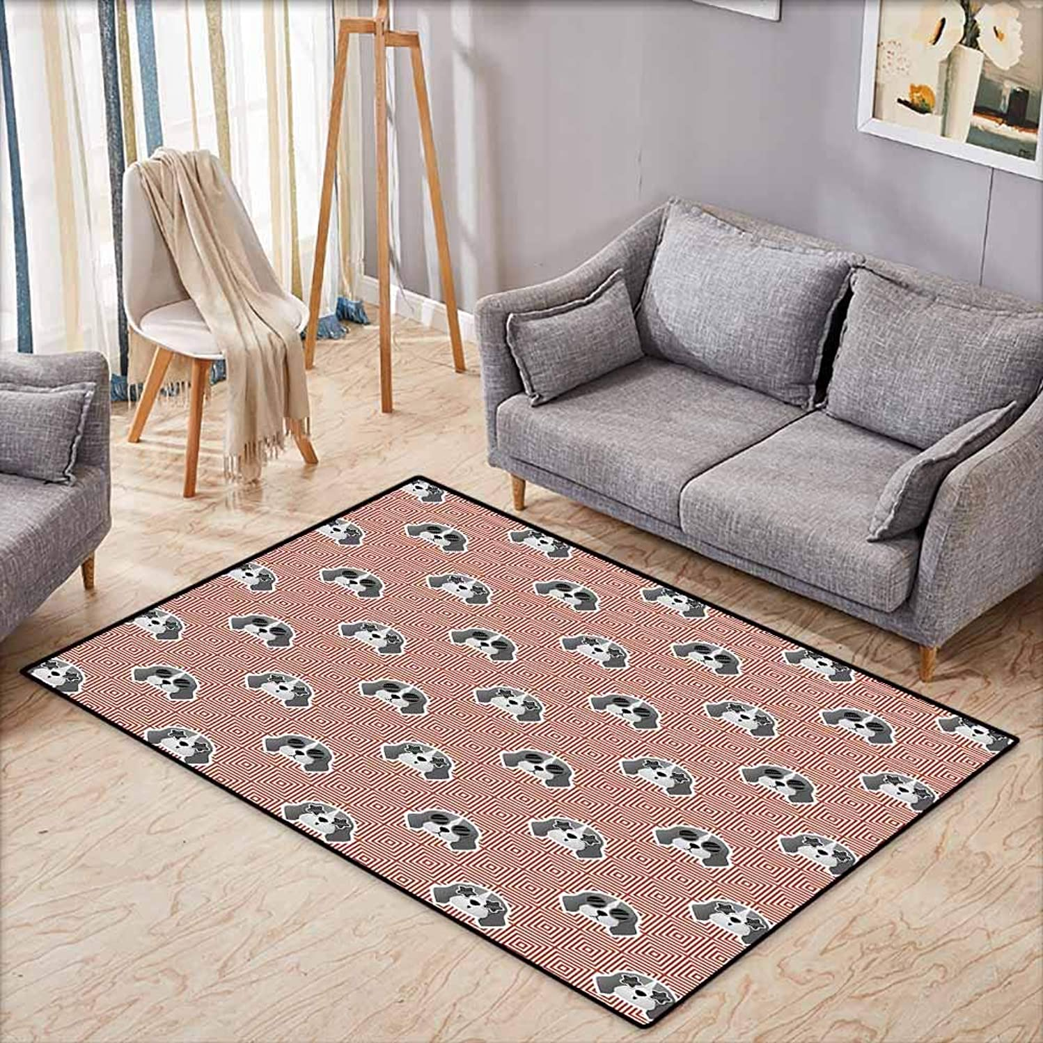 Outdoor Patio Rug,Dog Beagle Puppies with Sunglasses Abstract Geometric Pattern Checkered Squares,Anti-Slip Doormat Footpad Machine Washable,4'11