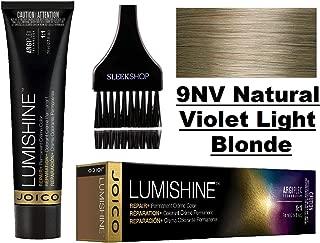 Joico LUMISHINE Repair+ PERMANENT Creme Hair Color (with Sleek Applicator Brush) Cream Haircolor (9NV Natural Violet Light Blonde)