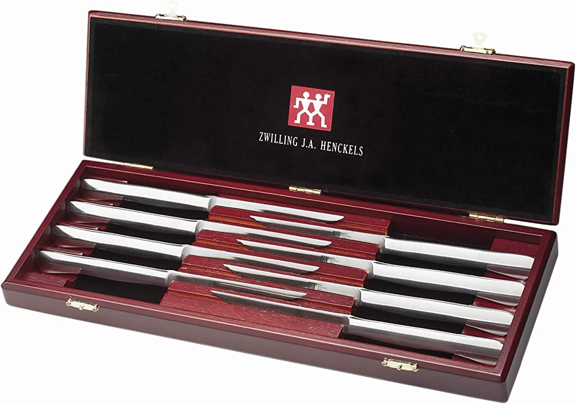 J A Henckels 8 Piece Stainless Steel Steak Knife Set In Wood Gift Box