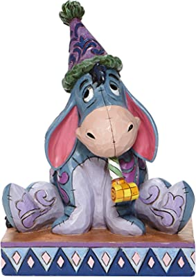 """Jim Shore Disney Traditions 6008074 Eeyore with Birthday Hat and Horn Figurine 5.75"""""""