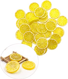 DonLeeving Luckycivia 35 Pcs Mini Small Simulation Lemon Slices, Artificial Plastic Simulation Fake Lemon Slices, Fruit Model Party Kitchen Wedding Decoration (Yellow)