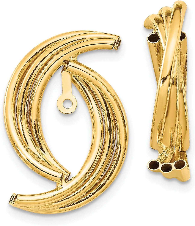 14k Yellow Gold Polished Fancy Earring Jackets 22x22 mm