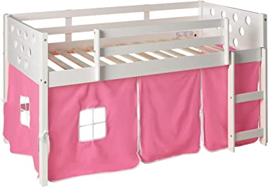 DONCO KIDS Circles Low Loft Bed with Pink Tent, Twin, White