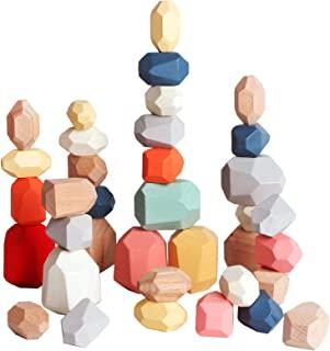 36 PCs Wooden Sorting Stacking Balancing Stone Rocks Educational Preschool Learning Toys Large Small Building Blocks Game ...