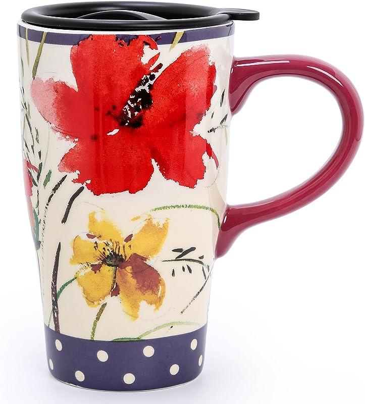 Minigift MN1019 Travel Cup Tea Coffee Mug Beautiful Ceramic Cups With Lid Handmade Milk Mug As Gift 16oz For Women Men Kids Wildflower